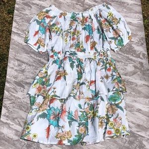 Plum Pretty Sugar Floral Tiered Cotton Dress NWOT